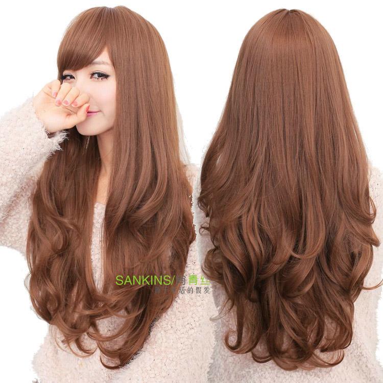 Cabelo preto peruca meninas fofo maçante alta temperatura pintura fio longo encaracolado peruca de cabelo moda feminina(China (Mainland))