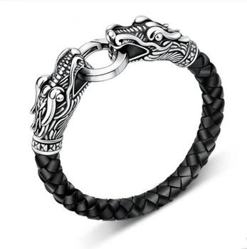 leather Tibetan silver men bracelet titanium fashion male vintage accessories parataxis ...