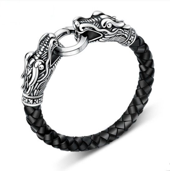 leather Tibetan silver men bracelet titanium fashion male vintage accessories parataxis dragon bracelet men jewelry TH-140(China (Mainland))