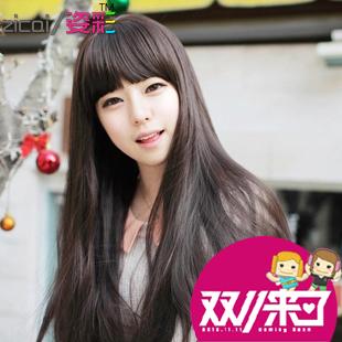 Peruca meninas oblíqua bate mate pintura moda cabelo curto cabelo reto longo(China (Mainland))