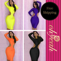 Super Sexy Women Dress Cut Out Waist And Backless Long Sleeve Bandage Bodycon Dress 4Colors R77326