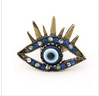 free shipping New Vintage Antiqued Bronze CZ Gothic Evil Eye Ring Eyebrow Ring(Min.Order Is $ 10 +Gift,Mix Order)