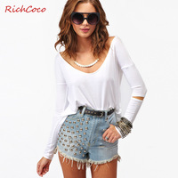Fashion star richcoco low solid color o-neck long-sleeve t-shirt basic shirt d255