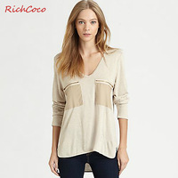 Fashion street loose zipper applique large pocket long-sleeve medium-long V-neck cotton t-shirt basic shirt c006