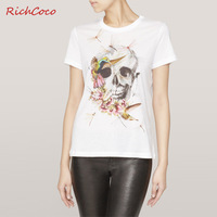 Richcoco fashion street fashion skull dragonfly print o-neck short-sleeve cotton t-shirt d131