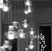 "36 LIGHTS MODERN CLEAR CAST GLASS SPHERE / BALL ""METEOR SHOWER"" CHANDELIER WITH POLISHED CHROME RECTANGULAR STAINLESS STEEL BASE"