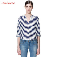Fashion normic elegant fresh fashionable casual blue and white stripe loose long-sleeve V-neck chiffon shirt d046