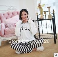 Женская пижама Autumn and spring women's long sleeve cotton Pajamas + pyjamas bundle pajamas Nightgown sleepwear