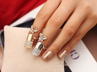 Wholesale 1PC 2013 New Arrived Fashion Europe and United States Fashion Hot Selling Inlay Rhinestone Butterfly Nail Ring JR55