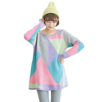Free Shipping 2013 New Classic Color Block O-neck Full Loose All-match Sweater Pullovers Casual RG13