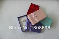 Free shipping 5x8cm Hot new arrivel double sponge gift box packaging box new bowknot jewelry box for accessories