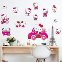 Free Shipping Cheap Kids Hello Kitty PVC Home stickers Wall Decal ,Wallpaper, Room Sticker, House Sticker LD673