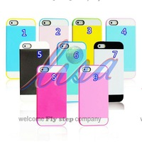 NX case for iphone 5S/5g.wholesale-Candy color card slot Rear cover pc+silicon hybrid case for iphone 5s/5g,Free shipping
