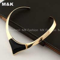 High Quality Metal Gold Plated Collar Torques Jewelry Fashion Big Resins Bib Choker Necklace Free Shipping  N1580