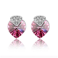 2013 Christmas gifts new high quality 316L stainless steel Austrian crystal heart design earings 2013 free shipping