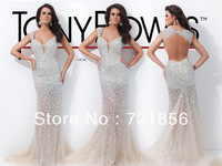 2014 newest hotsale sexy luxurious handmake short sleeve v-neck  beads crystal tony bowls open back mermaid evening dress 114C46