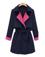 2013 Winter-Autumn Women New Fashion Brand Europe Trench Thick Woolen Coat Lapel Double-Breasted Outerwear 8440