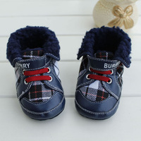 Free shipping 2013 latest blue plaid soft bottom bottom anti-slip cloth toddler shoes winter warm boots 3 sizes 11, 12 , 13 cm