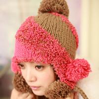 2014 freeshipping women wool casual hats for women beanie skullies hat sphere knitted color block women's winter warm pocket