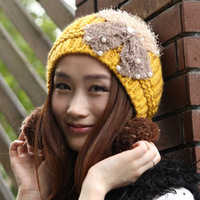 2014 Real Direct Selling Freeshipping Hats Bonnets Gorro Autumn And Winter Fashion Knitted Hat Women's Sweet Bow Cute Ball Cap