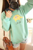 Preppy style cartoon applique circleof denim small lapel plus velvet thickening sweatshirt
