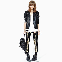 New 2013 Gold haoduoyi bronzier skull skeleton front and back print black slim legging shirt women clothes