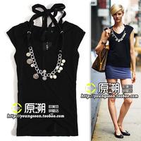 Commemorative badge necklace fashion decoration slim sleeveless halter-neck T-shirt