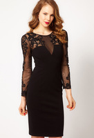 Free shipping New arrival Euroepan Brand Women's Black Long sleeve embroidered elegant Classic sexy one-piece KM dress