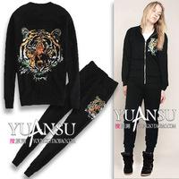 Lladro embroidery tiger head fashion autumn sports casual set