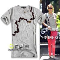 Classic fashion print chains slim o-neck short-sleeve T-shirt fashion cattle