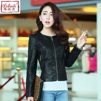 Autumn o-neck leather clothing jacket motorcycle plus size water wash PU clothing female slim short coat design