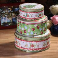 Zakka sheet tin christmas sundries snack storage box sealed cans cosmetics glove box circle piece set