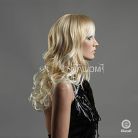 Beautiful blonde medium long wavy  wig,100%KANEKALON wig,free shipping lady's wig,free hairnet