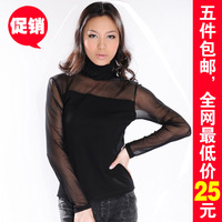 Sy9257 spring turtleneck chiffon shirt solid color transparent gauze top basic shayi long-sleeve shirt