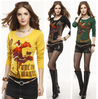 tshirt ON Sale promotion 100% cotton long-sleeve T-shirt butterfly flower basic shirt 2522  Cheap HOT