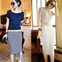 Spring 2014 New Fashion Girl Women Summer Dress Casual Short Sleeve Top Striped Bodycon Pencil Midi Dresses Gray Dark Blue S- XL