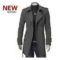 New arrival mens winter slim warm woolen jacket double breasted long outwear free shipping M,L,XL,XXL size winter jacket men