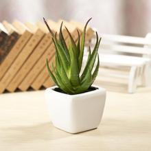 Мини-керамические белый бутылка алоэ небольшой бонсай пластиковые растения цветок зеленый балкон деревенском декора