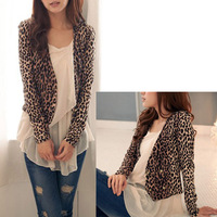 Hot Fashion Sexy Women Leopard Print Thin Slim Long Sleeve Suit Jacket Button Short Coat Free Shipping