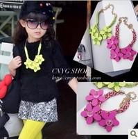 (5 pieces/lot) wholesale Children's clothing lubai three-dimensional flower hemp rope necklace 2013 female child