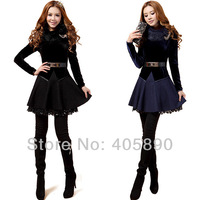 2013 Woolen Cashmere Slim Bottoming Dress With Belt