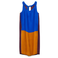 Free shipping Wholesale 2013 new fashion Women's summer o-neck sleeveless candy color patchwork slim dress Des083