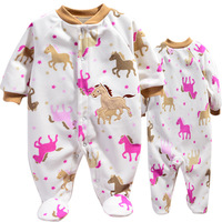 4pcs/lot, 2013 New Carters Baby Girls Long Sleeve Romper,Lovely Horse Model Autumn Jumpsuit,Free Shipping,In Stock