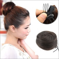 Free Shipping   30g Dark Brown  Virgin Human Hair Hand-woven Buns Jessica Alba Clips in on Hair Extensions