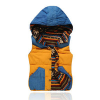 2013 down cotton vest female autumn and winter reversible with a hood fashionable female denim vest waistcoat vest