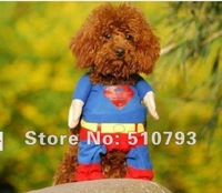 excellent quality 50pcs/lot  Pet Cat Dog Puppy Cotton Clothes Costumes Superman Spider-Man Batman Clothing Suit XS,S,M,L,XL