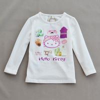 5pcs/lot free shipping brand girls hello kitty  t-shirts