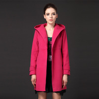 2013 Women Casual Slim Thick Winter Woolen Coat Hooded Coat and Long Jacket Warm Women Winter Clothing