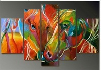 100% hand-painted oil painting, abstract oil painting art deco horse combination, free shipping