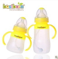 Baby straw belt caliber handle antibiotic baby silica gel bottle full newborn baby products